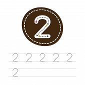 Learning To Write A Number - 2. A Practical Sheet From A Set Of Exercises For The Development And Ed poster