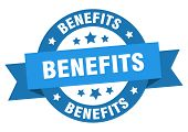 Benefits Ribbon. Benefits Round Blue Sign. Benefits poster