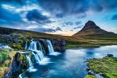 Iceland Landscape Summer Panorama, Kirkjufell Mountain At Dusk With Waterfall In Beautiful Light poster