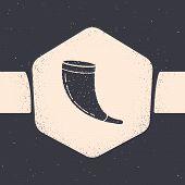 Grunge Traditional Ram Horn, Shofar Icon Isolated On Grey Background. Rosh Hashanah, Jewish New Year poster