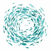 Colored Silhouettes School Of Fish. A Group Of Silhouette Fish Swim In A Circle. Marine Life. Vector poster