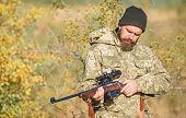 Bearded Man Hunter. Military Uniform. Army Forces. Camouflage. Hunting Skills And Weapon Equipment.  poster