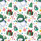 Seamless Pattern With Snowmen, Gift Boxes, Balls, Candy Canes, Stars And Multicolored Confetti. Wate poster