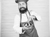 Haute Cuisine Characterized Meticulous Preparation And Careful Presentation Meal. Man Hat And Apron  poster