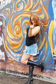 picture of sluts  - Bad blonde girl near graffiti wall she so sexy - JPG