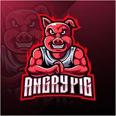 Angry Pig Esport Mascot Logo Design With Text poster