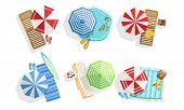 Collection Of Sunny Parasols, Chaise Lounges And Towels, Summer Beach View From Above Vector Illustr poster
