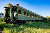 Abandoned Train. Forgotten Overgrown Railway. Old Rusty Railway Carriage. poster