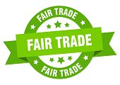 Fair Trade Ribbon. Fair Trade Round Green Sign. Fair Trade poster