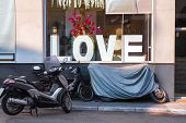 Love Theme Grange Photo. Shop, Cafe, Cafeteria Front View. Valentines Day In Grange Style. Love Conc poster