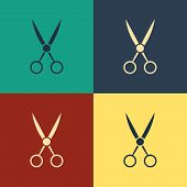 Color Scissors Hairdresser Icon Isolated On Color Background. Hairdresser, Fashion Salon And Barber  poster