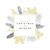 Christmas Poster - Illustration. Vector Illustration Of Christmas Background With Branches Of Christ poster