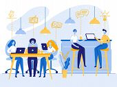 People Working, Relaxing, Drinking Coffee And Messaging With Gadgets In Coworking Area Or Office. Te poster