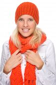 foto of full cheeks  - Full isolated portrait of a beautiful  caucasian smiling woman with muffler and cap - JPG