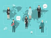 Business Coworking On The World Map Vector Illustration. Teamwork On The World. Businessmen Around T poster