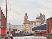Royal Albert Dock In Liverpool With The Three Graces poster