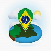 Isometric Round Map Of Brazil And Point Marker With Flag Of Brazil. Cloud And Sun On Background. Iso poster