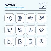 Reviews Line Icon Set. Approval, Best Offer, Best Price, Call Center. Online Store Concept. Can Be U poster