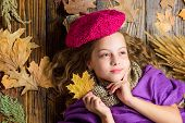 Fashion Hat Trend Fall Season. Kid Girl Bright Soft Knitted Hat Enjoy Autumn. Girl Cute Child In Kni poster