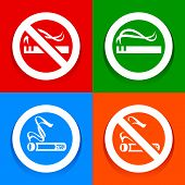 Stickers multicolored. No smoking area labels