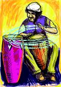 image of congas  - A hand drawn illustration  - JPG