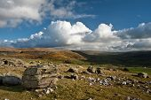 Landscape View From Norber Erratics Towards Wharfe Dale In Yorkshire Dales National Park