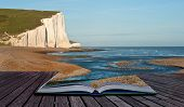 foto of spring-weather  - Creative composite image of seascape in pages of magic book - JPG