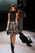 NEW YORK - FEBRUARY 12: Model walks the runway for the Badgley Mischka  collections Mercedes-Benz Fa