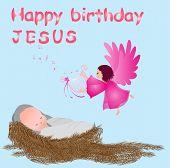 Постер, плакат: Baby jesus in a manger