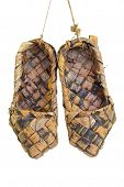 stock photo of bast  - An old traditional Russian bast shoes - JPG