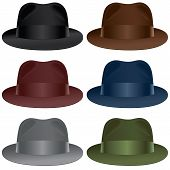 image of fedora  - A fedora hat selection in black gray burgundy olive blue and brown colors - JPG