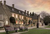stock photo of broadway  - Evening time at the popular Cotswold village of Broadway - JPG