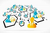 foto of hierarchy  - Abstract network process social media business vector illustration - JPG