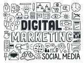 Digitales Marketing Doodle Elemente Set