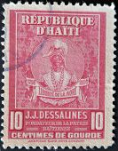 A stamp shows Jean Jacques Dessalines was a leader of the Haitian Revolution and the first ruler