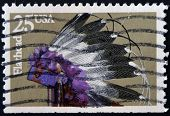 United States Of America - Circa 1990: A Stamp Printed In Usa Dedicated To Flathead, Circa 1990