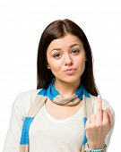 stock photo of obscene gesture  - Portrait of teenager showing obscene gesture - JPG
