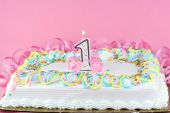 picture of birthday-cake  - One white frosted and decorated sheet cake with one lit candle - JPG