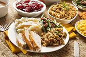 picture of thanksgiving  - Homemade Turkey Thanksgiving Dinner with Mashed Potatoes Stuffing and Corn - JPG