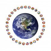 3D render of group of footballs around the earth on white background, representing the world cup in