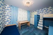 picture of bunk-bed  - Beautiful modern children bedroom with fun wallpapers - JPG