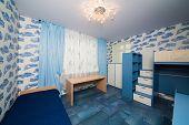 stock photo of bunk-bed  - Beautiful modern children bedroom with fun wallpapers - JPG