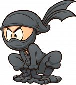 Crouching cartoon ninja. Vector clip art illustration with simple gradients. All in a single layer.