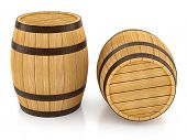 Wooden barrels for wine and beer storage. 3d rendered illustration. Isolated on white background. Cl
