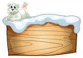 Illustration of a polar bear above the empty wooden board on a white background