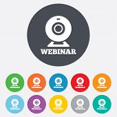 Webinar web camera sign icon. Online Web study.