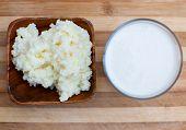 pic of tibetan  - probiotic kefir drink made of milk and tibetan mushroom grains - JPG