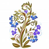 Decorative floral colored pattern with bluebells