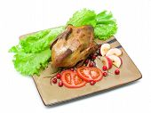 Roast Wild Duck Carcass On A Plate On White Background
