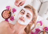 picture of face mask  - Cosmetician Applying Facial Mask To The Face Of Young Beautiful Woman In Spa Salon - JPG